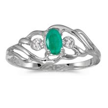 Certified 10k White Gold Oval Emerald And Diamond Ring #51167v3