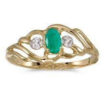 Certified 10k Yellow Gold Oval Emerald And Diamond Ring #51060v3