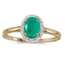 Certified 14k Yellow Gold Oval Emerald And Diamond Ring #51059v3