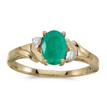 Certified 14k Yellow Gold Oval Emerald And Diamond Ring #50877v3