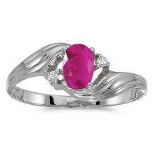 Certified 10k White Gold Oval Ruby And Diamond Ring #51170v3