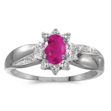 Certified 10k White Gold Oval Ruby And Diamond Ring #50979v3