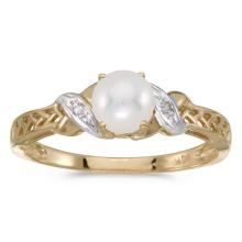 Certified 14k Yellow Gold Pearl And Diamond Ring #50888v3