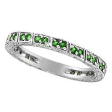 Emerald Stackable Ring Band 14k White Gold by Allurez #51968v3
