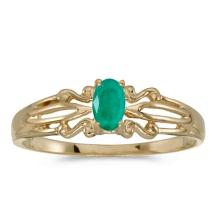Certified 14k Yellow Gold Oval Emerald Ring #50934v3