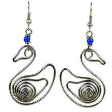 Handmade Silver Plated Wire Duck Earrings - Zakali Creations #87266v2