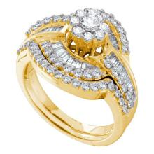 14KT Yellow Gold 1.20CTW DIAMOND FLOWER BRIDAL SET #57698v2
