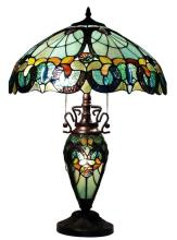 TIFFANY STYLE FLORAL TABLE LAMP LIGHTED BASE #99560v2