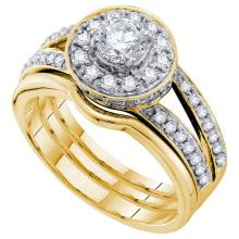 14K Yellow-gold 1.0CTW DIAMOND 0.40CT CENTER ROUND BRIDAL SET #56107v2