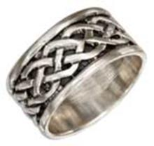 STERLING SILVER LOOSE CELTIC BRAID BAND WITH ANTIQUED INSET #17734v3