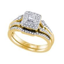 14K Yellow-gold 0.51CT DIAMOND 0.20CT CENTR PRINCESS BRIDAL SET #58726v2