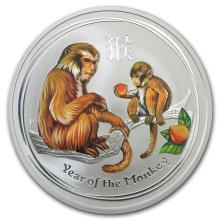 2016 Australia 1 oz Silver Lunar Monkey Colorized BU #21719v3