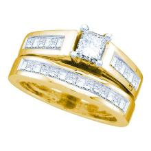 14KT Yellow Gold 1.00CTW DIAMOND LADIES BRIDAL SET WITH 0.33CT PRINCESS CENTER #56604v2