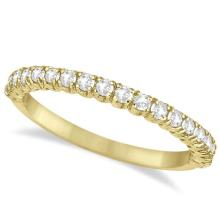 Half-Eternity Pave Thin Diamond Stacking Ring 14k Yellow Gold (0.50ct) #20888v3