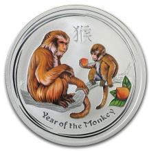 2016 Australia 1/2 oz Silver Lunar Monkey Colorized BU #21718v3