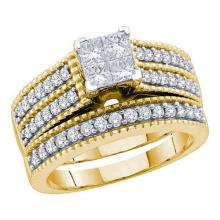 14KT Yellow Gold 1.00CTW DIAMOND INVISIBLE BRIDAL SET #57284v2