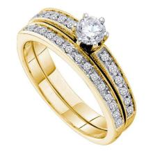 14K Yellow-gold 0.51CTW DIAMOND 0.33CT CENTER ROUND BRIDAL SET #56102v2