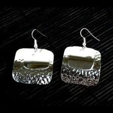 Large Silverplated Double Square Earrings - Artisana #87147v2