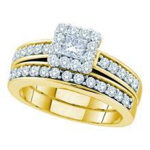 14KT Yellow Gold 1.00CTW DIAMOND 0.28CT CENTER PRINCESS BRIDAL SET #57282v2