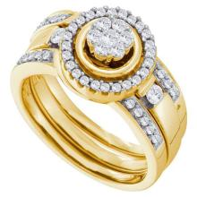 14K Yellow-gold 0.51CT DIAMOND FLOWER BRIDAL SET #57514v2