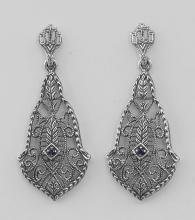 Sapphire Art Deco Style Filigree Drop Earrings - Sterling Silver #97601v2