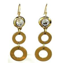 Crystal and Loops Brass Earrings - Brass Images (E) #87654v2