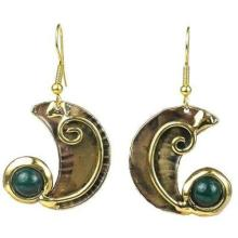 Crescent and Green Stone Earrings - Brass Images (E) #87656v2