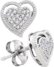 10KT White Gold 0.10CTW DIAMOND HEART EARRING #61996v2