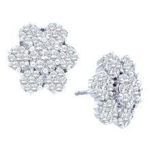 14K White-gold 4.00CT DIAMOND FLOWER EARRING #55035v2