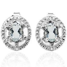 0.572 CTW AQUAMARINE and GENUINE DIAMOND PLATINUM PLATED .925 STERLING SILVER EARRINGS #99445v2