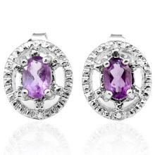 0.812 CTW AMETHYST and GENUINE DIAMOND PLATINUM PLATED .925 STERLING SILVER EARRINGS #99456v2