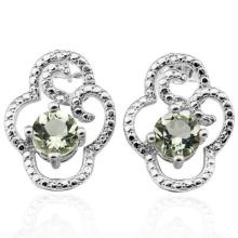 1.528 CTW GREEN AMETHYST and GENUINE DIAMOND PLATINUM PLATED .925 STERLING SILVER EARRINGS #99440v2
