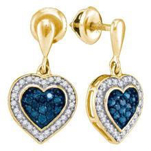 10K Yellow-gold 0.50CTW BLUE DIAMOND MICRO-PAVE EARRING #63608v2