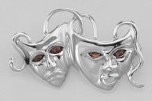 Comedy & Tragedy Pin with Garnet Eyes - Sterling Silver #97699v2