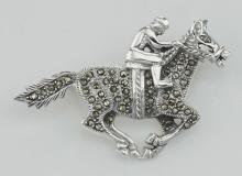 Marcasite Jockey / Race horse Pin - Sterling Silver #97701v2