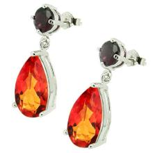 12.689 CTW GARNET and AZOTIC GEMSTONE PLATINUM PLATED .925 STERLING SILVER EARRINGS #99457v2