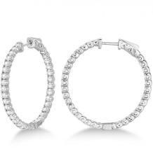 Large Round Diamond Hoop Earrings 14k White Gold (3.25ct) #20892v3