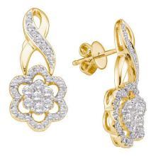14K Yellow-gold 1.0CTW DIAMOND LADIES FLOWER EARRING #55675v2
