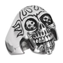 Stainless Steel Skull Eating Skeleton Ring STERLING SILVER SIZES 5-10 #18182v3