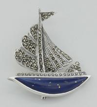 Sailboat Pin - Lapis / Marcasite - Sterling Silver #97702v2