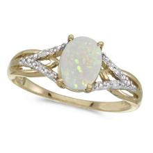 Oval Opal and Diamond Cocktail Ring 14K Yellow Gold (0.70ct) #21025v3
