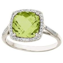Cushion-Cut Peridot and Diamond Cocktail Ring 14k White Gold (3.70cttw) #21101v3