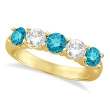 Five Stone White and Blue Diamond Ring 14k Yellow Gold (1.50ctw) #21140v3
