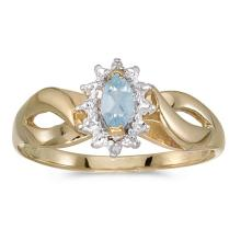 Certified 10k Yellow Gold Marquise Aquamarine And Diamond Ring #50613v3