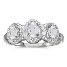 Certified 14k White Gold Oval White Topaz And Diamond Three Stone Ring #51333v3