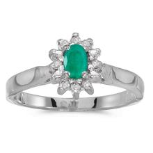 Certified 10k White Gold Oval Emerald And Diamond Ring #50573v3