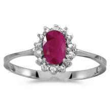 Certified 14k White Gold Oval Ruby And Diamond Ring #51225v3