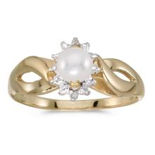 Certified 10k Yellow Gold Pearl And Diamond Ring #50600v3