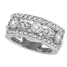 Antique Style Diamond Eternity Ring in 14k White Gold (2.08 ctw) #51603v3