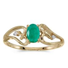 Certified 14k Yellow Gold Oval Emerald And Diamond Ring #50626v3